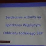 Spotkanie Wigilijne Oddziału Łódzkiego SEP